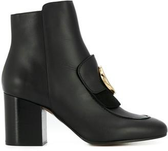 Chloé C logo ankle boots
