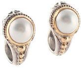 Konstantino 18 K Gold Sterling Silver Pearl Huggie Earrings