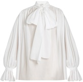 Vika Gazinskaya Tie-neck cotton-poplin blouse