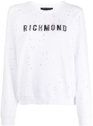 John Richmond Logo Print Holey Sweatshirt