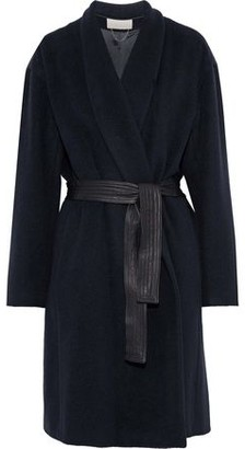 Vanessa Bruno Belted Leather-trimmed Alpaca And Wool-blend Coat