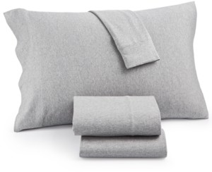 JLA Home Heathered Cotton Jersey 3-Pc. Solid Twin Sheet Set Bedding