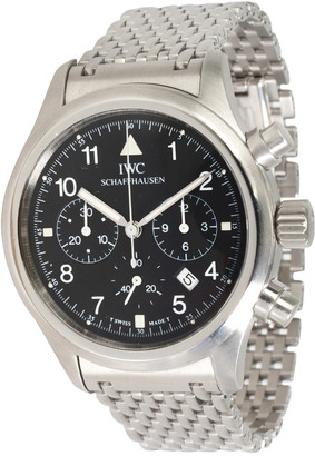 IWC Black Stainless Steel Flieger Chronograph 3741 Women's Wristwatch 36MM