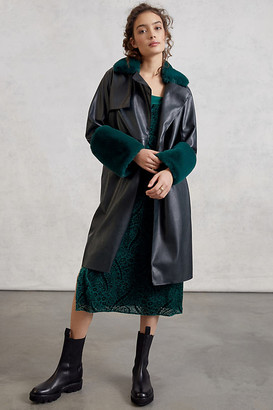 Blank NYC Sonya Faux Leather Trench Coat By in Green Size XS