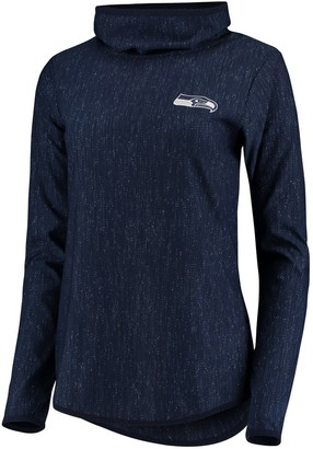 Antigua Women's Heathered College Navy Seattle Seahawks Equalizer Cowl Neck Pullover Sweatshirt
