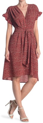 Max Studio Short Sleeve Crepe Midi Dress