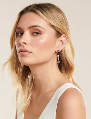 Ever New Seva Pink Stone Column Drop Earrings