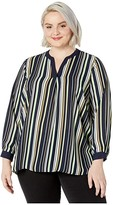 Vince Camuto Specialty Size Plus Size Long Sleeve Waterlake Stripe Split-Neck Tunic (Caviar) Women's Clothing