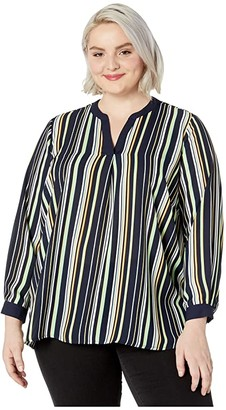 Vince Camuto Plus Size Long Sleeve Waterlake Stripe Split-Neck Tunic (Caviar) Women's Clothing