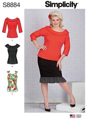 Simplicity Women's Tops Sewing Pattern, 8884