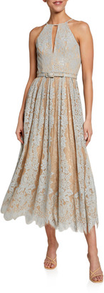 Badgley Mischka Sequin Lace Racer Halter Dress