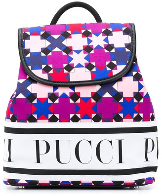 Emilio Pucci Junior Geometric-Print Cotton Backpack