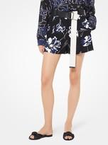 Michael Kors Floral Crepe-Cady Shorts