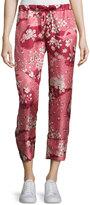 Moncler Cropped Floral Silk Satin Pants, Blush