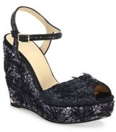 Jimmy Choo Perla 120 Embroidered Raffia, Glitter & Leather Wedge Sandals