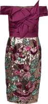 Marchesa Artwork Sequin Coctail Dress