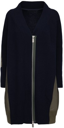 Sacai Knit Wool & Nylon Zip-Up Long Cardigan