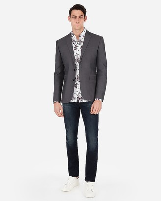 Express Slim Charcoal Gray Cotton Oxford Suit Jacket