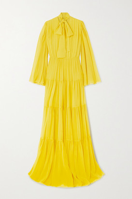 Giambattista Valli Pussy-bow Tiered Pintucked Silk-georgette Gown - Yellow