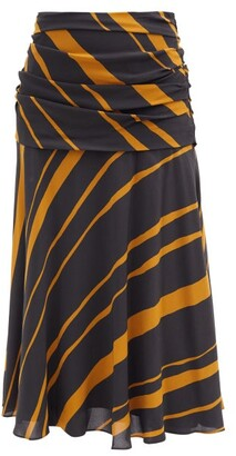 Proenza Schouler Diagonal-stripe Ruched Crepe De Chine Midi Skirt - Khaki Multi