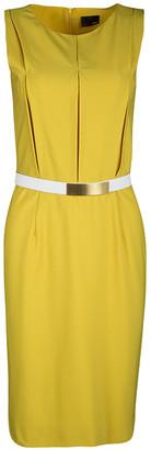 Fendi Yellow Wool Stitch Detail Sleeveless Belted Dress S