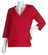 As Is Denim & Co. 3/4 Sleeve Knit Top with Woven Duet