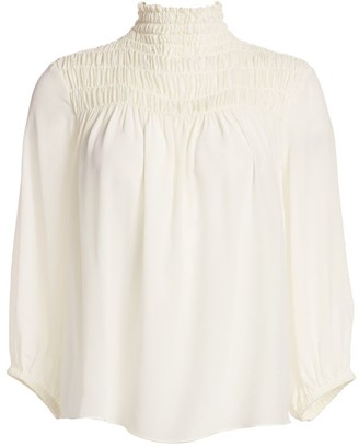 Frame Smocked Three-Quarter Sleeve Silk Blouse