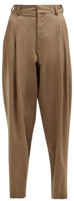 Edward Crutchley Wide-leg Tailored Wool Trousers - Womens - Beige
