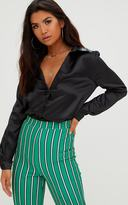 PrettyLittleThing Black Satin Button Front Shirt