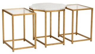 Chelsea House Medallion 3 Piece Nesting Tables Table Top Color: Clear/Natural White