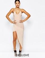 Club L Cross Front Dress with Asymmetric Hem