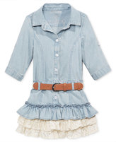 GUESS GUESS' Lace-Ruffle Denim Dress, Little Girls (2-6X)