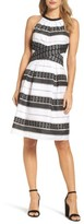 Adrianna Papell Women's Stripe Fit & Flare Dress