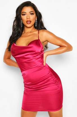 boohoo Florence Satin Cowl Neck Bodycon Dress