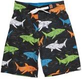 Charlie Rocket Linear Shark Swim Short (Toddler/Little Kids/Big Kids) (Black) - Apparel