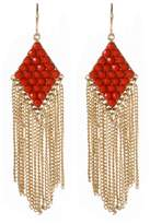 Amrita Singh Katie Resin Stone Chain Fringe Drop Earrings, Coral