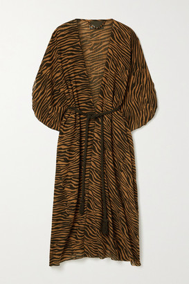Lisa Marie Fernandez Adwoa Zebra-print Cotton-voile Kaftan - Zebra print