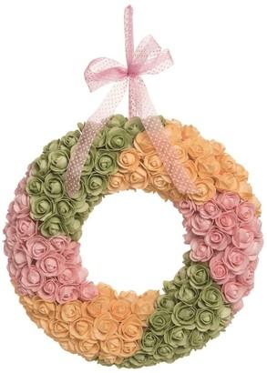 Transpac Plastic 16 in. Multicolor Easter Bright Rosette Wreath