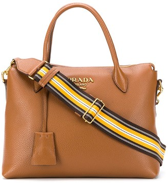 Prada Leather Tote Bag With Detachable Stripe Shoulder Strap