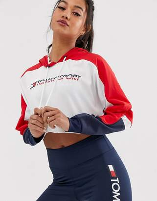Tommy Hilfiger flag tape logo crop hoody in red