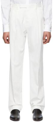 Ermenegildo Zegna White Cotton Pleated Trousers