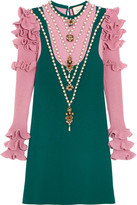 Gucci Embellished Wool-blend Mini Dress - Teal