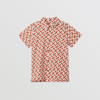 Burberry Short-sleeve Monogram Print Cotton Poplin Shirt