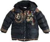 Dolce & Gabbana Medals Printed Hooded Nylon Down Coat