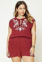 Forever 21 FOREVER 21+ Plus Size Embroidered Romper
