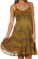 Sakkas 4031 Stonewashed Rayon Adjustable Mid Length Dress