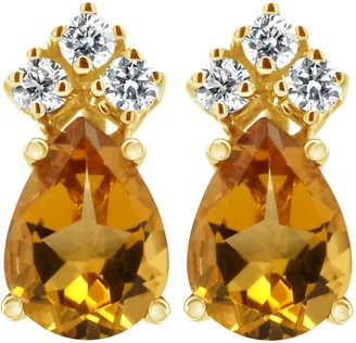 14K Semi-Precious Gemstone & 1/10 cttw Diamond Earrings