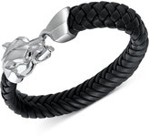 Effy Men's Woven Leather Panther Bracelet in Sterling Silver