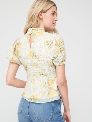 Very Pintuck High Neck Blouse - Floral