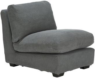 OKA Savile Armless Chair Loose Cover - Charcoal